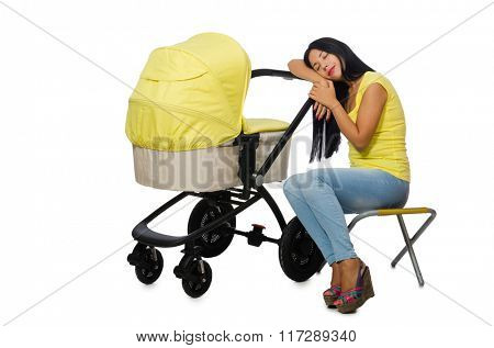 Young mom with baby and pram