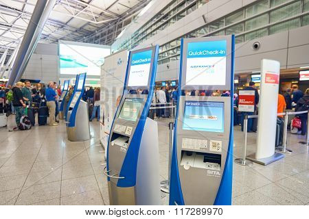 DUSSELDORF, GERMANY - SEPTEMBER 20, 2014: interior of Dusseldorf Airport. Dusseldorf Airport is the third largest airport in Germany after Frankfurt and Munich