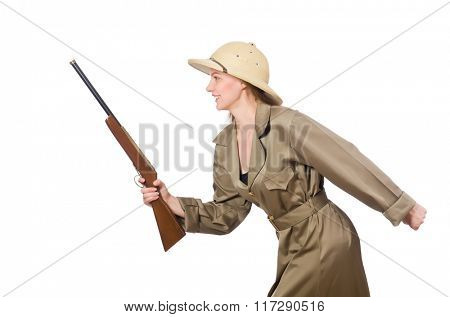 Woman wearing safari hat on white
