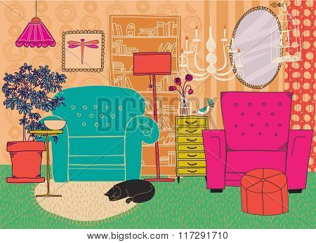 Hand Drawn Living Room Furniture - Cartoon-style living room furniture and accessories, including armchairs, bookshelf, chandeliers, chest of drawers and birdcage