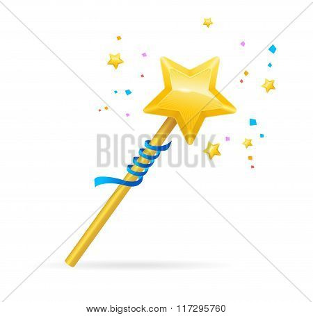 Magic Wand with Shining Star. Vector
