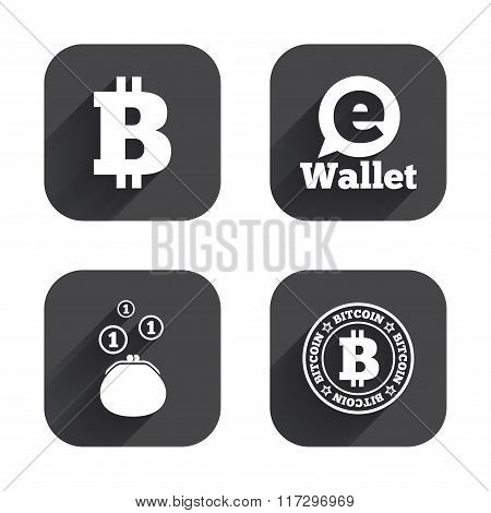 Bitcoin icons. Electronic wallet sign. Cash money symbol. Square flat buttons with long shadow. poster