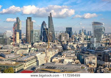 Panoramic View To City Of London From St Paul Cathedral