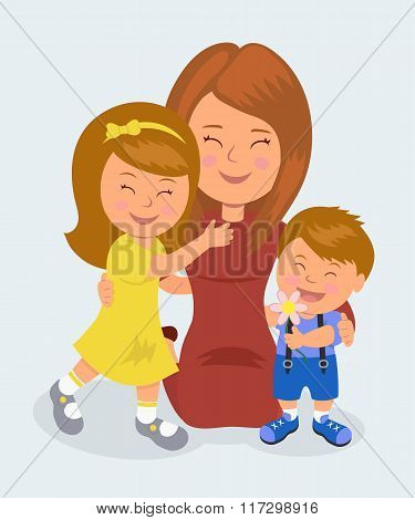 Mother kneeling hugging her daughter and son. The concept of love of mothers for their children