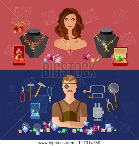 Jewelry banners sale precious stones jeweler in workplace jewelry store vector illustration poster