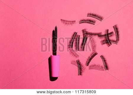 false eyelashes and mascara. advertising cosmetic set