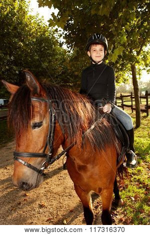 Cute little boy horseback riding in the green at autumn.