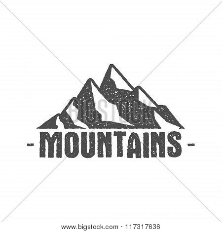 Hand drawn mountain badge Wilderness old style typography label Letterpress Print Rubber Stamp Effec