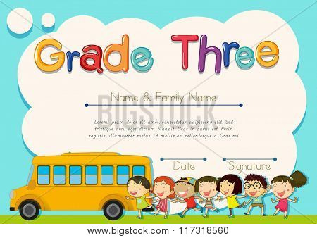 Grade four diploma with schoolbus and kids illustration