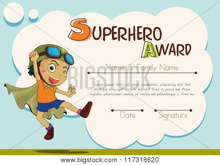 Certificate template with boy being superhero illustration