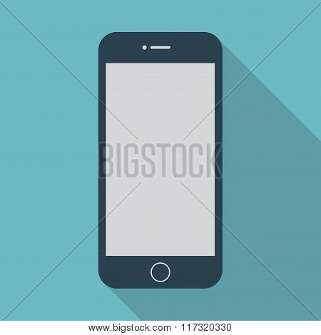 Smartphone Icon In The Style Flat Design On The Blue Background. Stock Vector Illustration Eps10