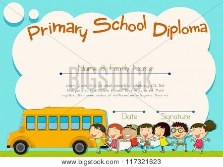 Primary school diploma with schoolbus and kids illustration
