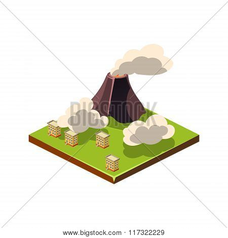 Volcano Eruption and Ash. Natural Disaster Icon. Vector Illustration
