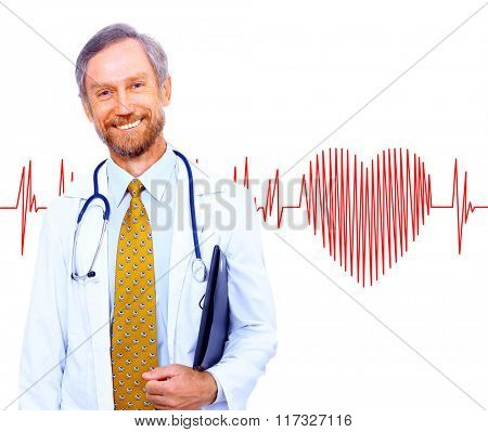 smiling doctor on the background heart rate