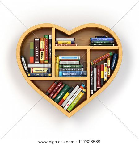 Education concept. Bookshelf with books and textbooks in form of heart. I love reading. 3d poster