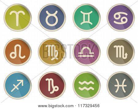 Zodiac signs icon set