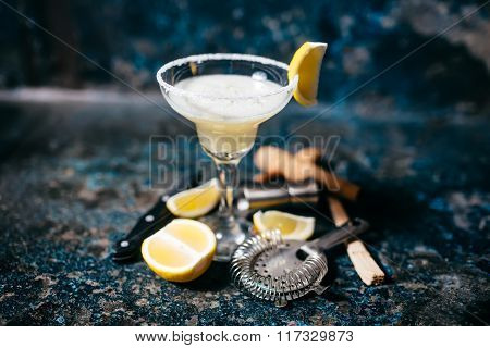 Fancy Cocktail With Lemons And Vodka. Margarita Refreshment Drink And Cocktails