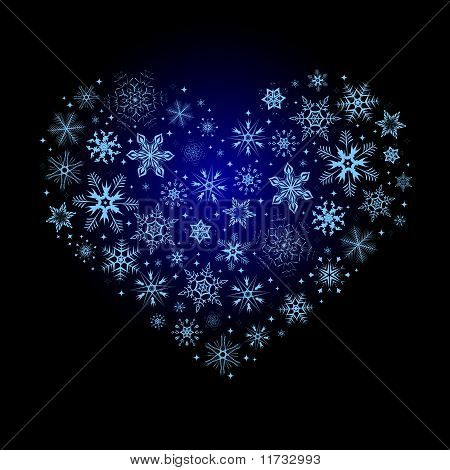 Christmas heart from snowflakes. Vector illustration