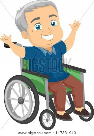 Illustration of a Happy Elderly Man in a Wheelchair Waving His Arms Happily