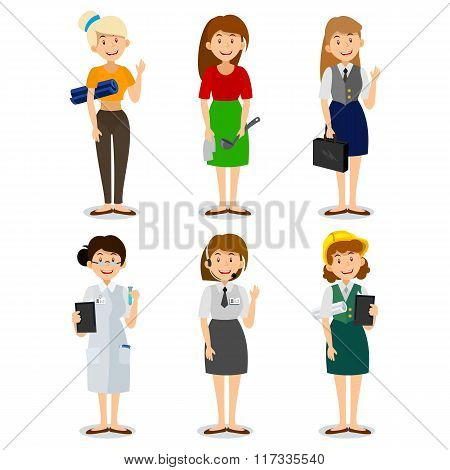 Set of colorful profession woman flat style icons engineer, a housewife, a yoga instructor, research