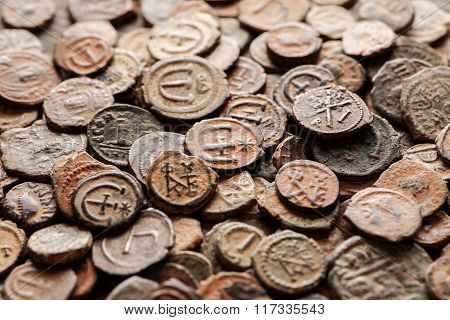 Pile Of Ancient Byzantine Copper Coins Top View