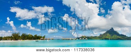 Panorama of stunning beach and beautiful view of Otemanu mountain on Bora Bora island