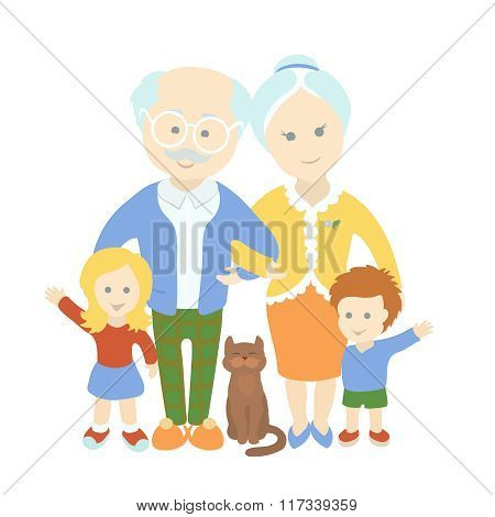Grandparents day. Family. Happy cute old couple with grandchildren.