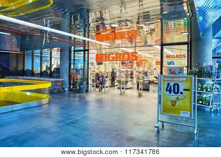 GENEVA, SWITZERLAND - SEPTEMBER 19, 2015: entrance to Migros supermarket. Migros is Switzerland's largest retail company, its largest supermarket chain and largest employer