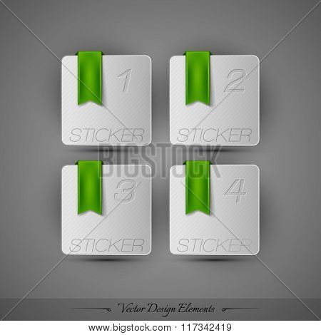 Business Stickers On The Gray Background For Infographics And Web Presentations. Vector Design Elemn