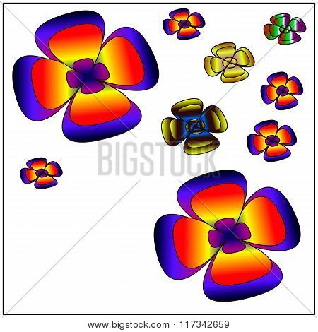 Big of beautiful colorful flowers. Vector illustration