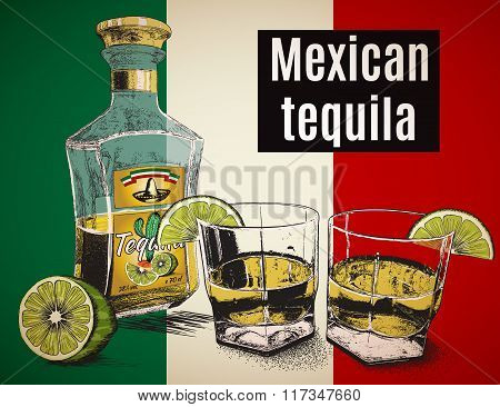 Two stemware of  tequila with bootle