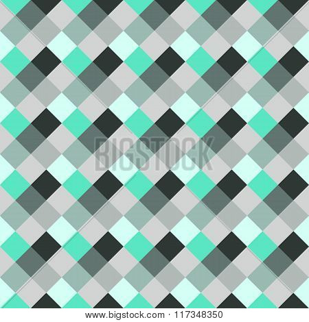Seamless geometric checked pattern. Diagonal square, woven line background. Rhombus texture. Gray, g