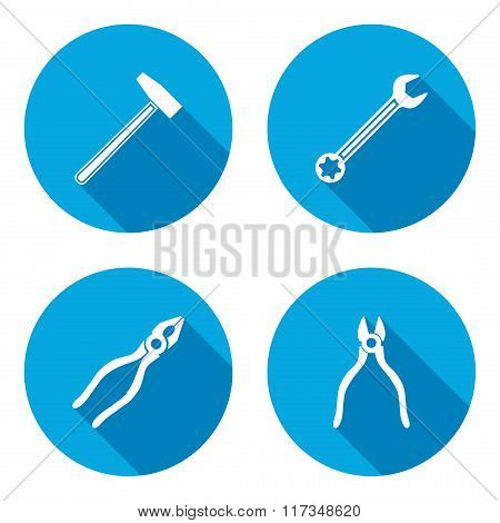 Pliers, hammer, wrench key icon. Repair fix tool symbol. White sign on round circle flat button with