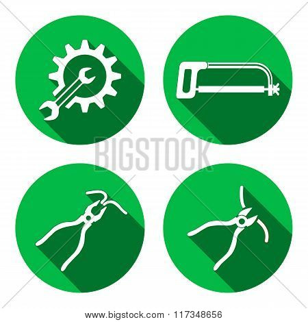 Tools icons set. Saw, pliers, tongs, cogwheel, wrench key, nippers. Repair fix symbols. White sign o