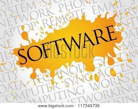 SOFTWARE, Technology concept word cloud collage, presentation background