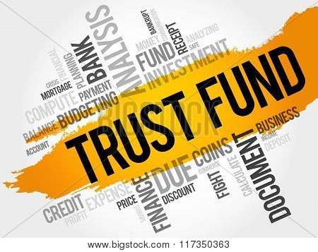 TRUST FUND word cloud business concept, presentation background