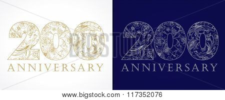 200 anniversary vintage golden and silver numbers.