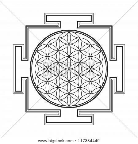 Monochrome Outline Flower Of Life Yantra Illustration.