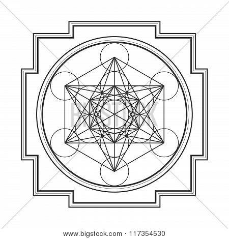 Monocrome Outline Metatron Cube Yantra Illustration.
