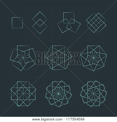 Quadrangle Contour Various Sacred Geometry Set.