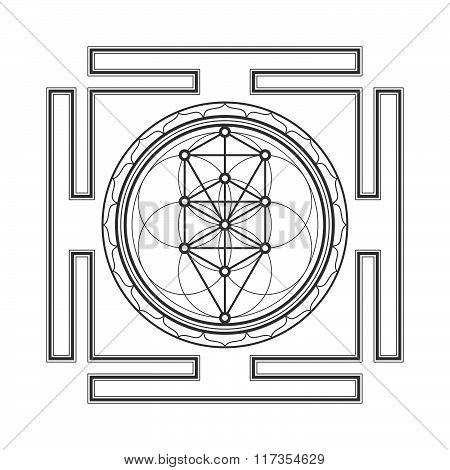 vector black outline tree of life yantra illustration sacred diagram isolated on white background. poster