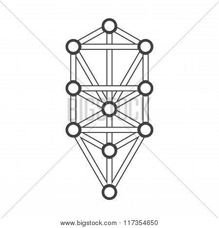 Monochrome Outline Sacred Tree Of Life Diagram Illustration.
