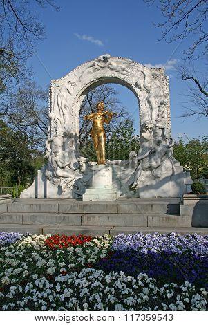 Vienna, Austria - April 22, 2010: Statue Of Johann Strauss In Vienna Stadtpark