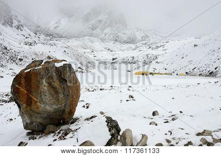 Big Stone - Final Path Sign On South Everest Base Camp Trek,himalayas,nepal,asia