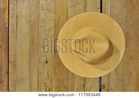 Brown Straw Hat On A Table