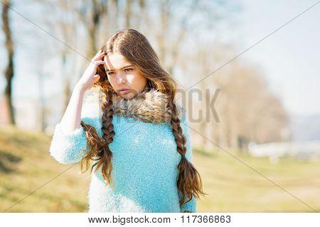 Beautiful Teenage Girl With Long Braided Hair