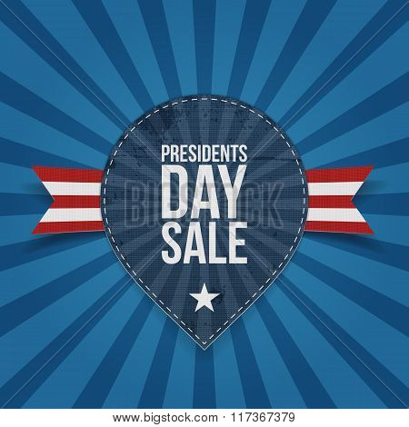Presidents Day Sale Text on blue striped Label