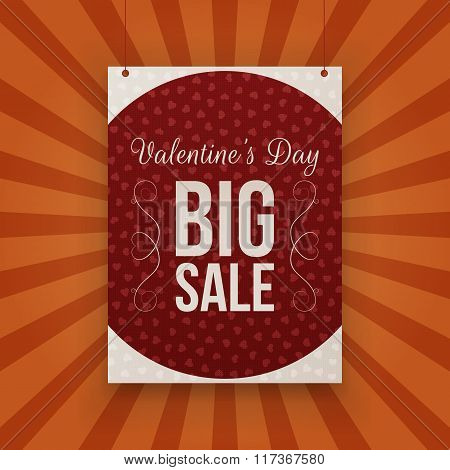 Valentines Day big Sale hanging paper Banner