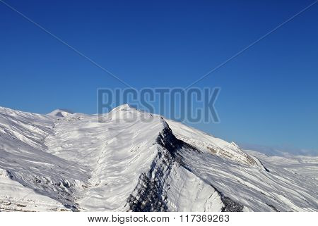 Winter Snowy Mountains In Nice Sun Day