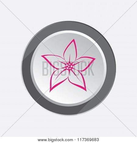 Lilia,  orchid flower icons. Floral symbol. Red sign on round three-dimensional white-gray button. V